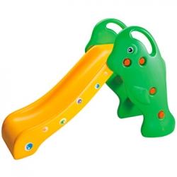 Resbaladilla tipo delfin color verde con amarillo de facil armado